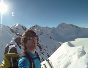 Skier falls off huge rocky cliff and SURVIVES