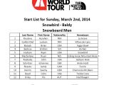 Start List Snow Men