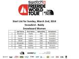 Start List Snow Women